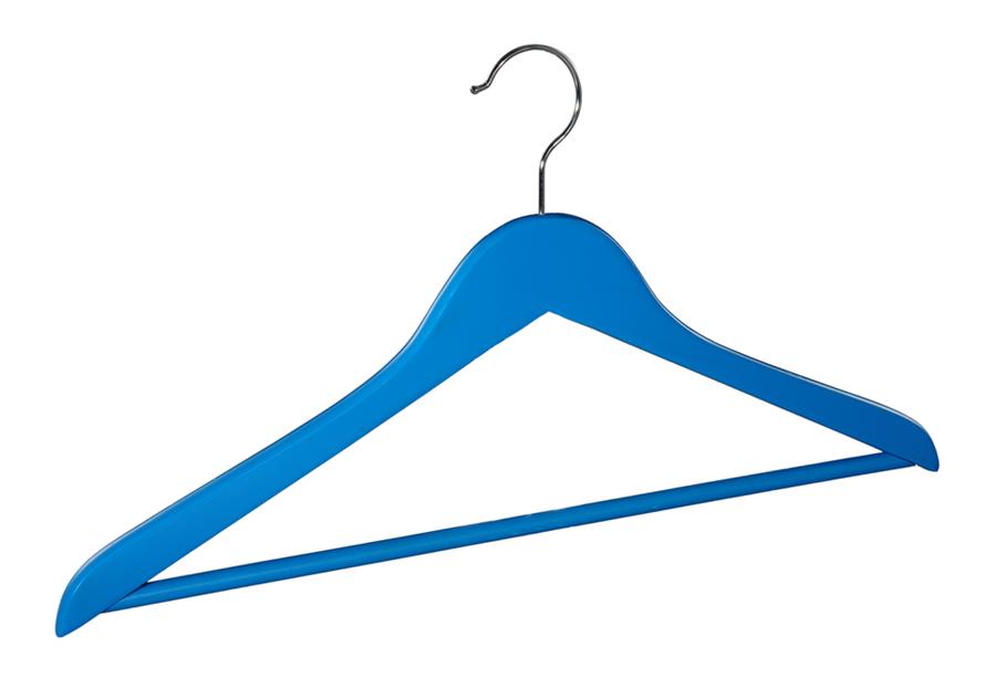 Blue wooden shirt hanger coat hanger wholesell hanger