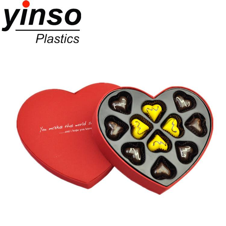chocolate tray multicolor custom rectangle heart round chocolate plastic box blister tray packaging
