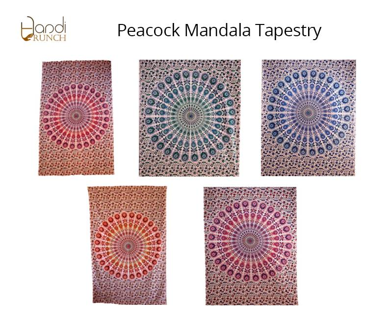 Handicrunch | Traditional Indian Peacock  Mandala Tapestry Wall Hanging