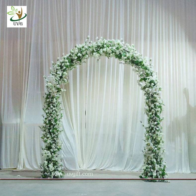 UVG CHR1120 8ft white wedding arch in artificial cherry branches for theme decoration