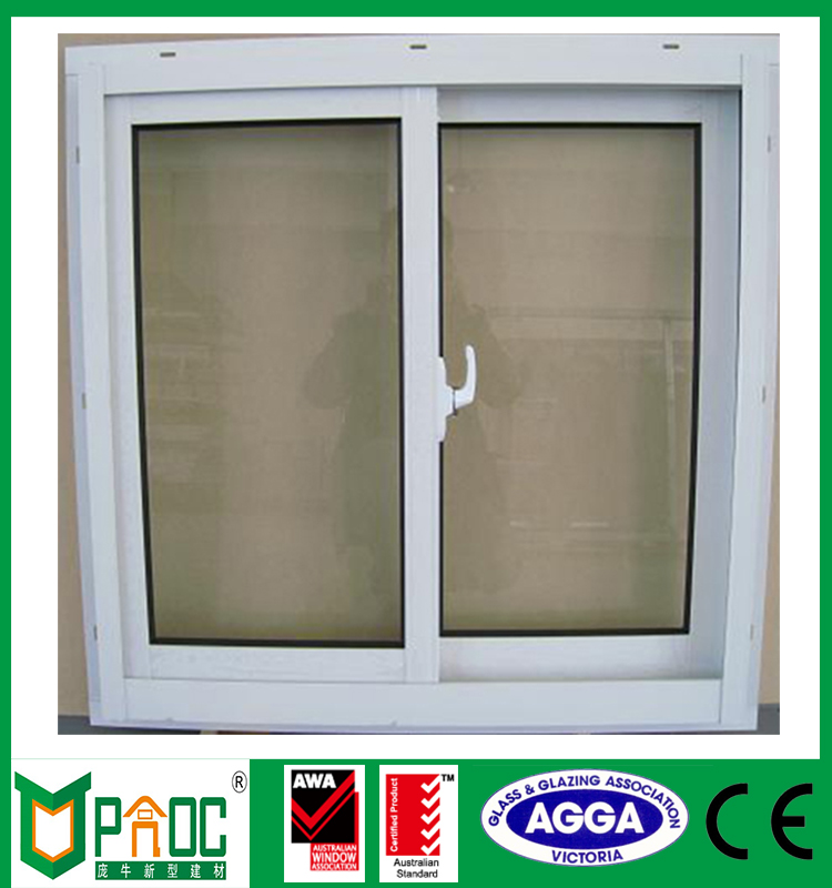 Doule glass two track aluminum sliding window with flyscreen