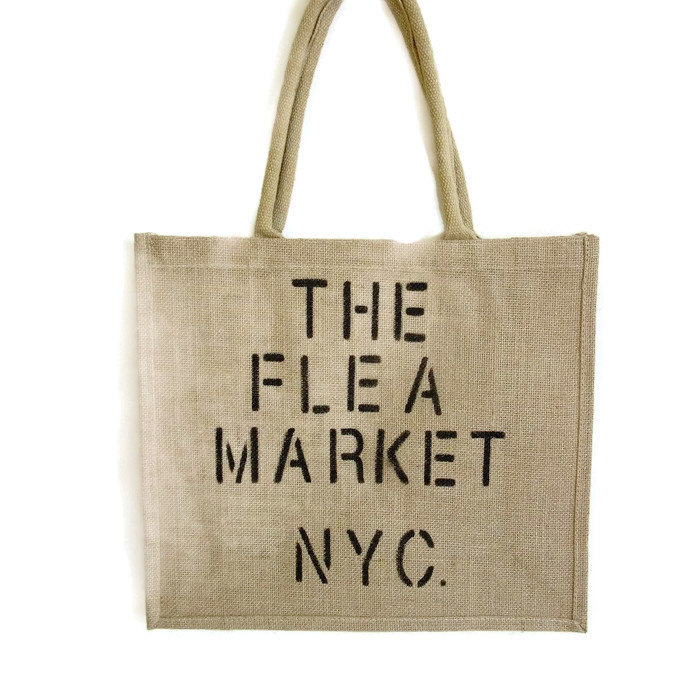 Flea Market Beach Jute Shopping Tote Bag Hand painted NYC Resuable Vintage Homemade Style