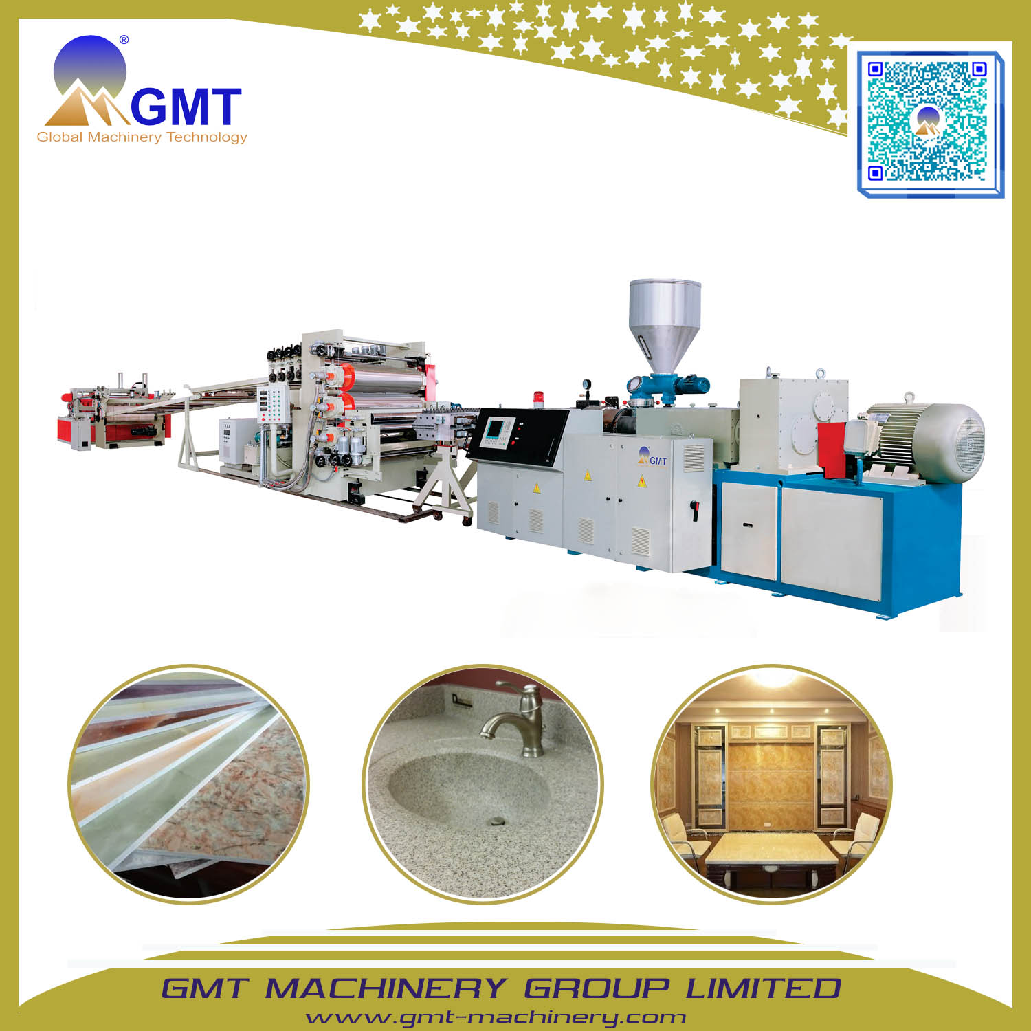 PVC Artificial Faux Marble Sheet Wall-Panel Plastic Extruder Making Machine
