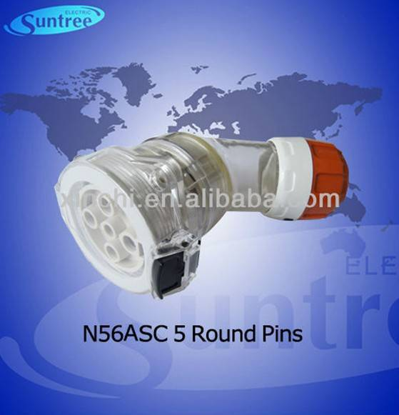 Australian industrial plug and socket 56ASC540 ip66 angled extension socket round pins SAA approved