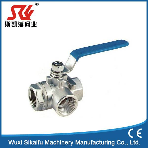 1000psi Stainless Ball Valve 3 Way Femal Thread Connect Manual Power