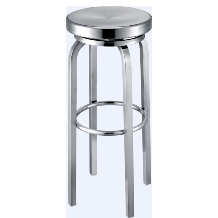 China Wholesale Round Glossy Stainless Steel Metal Bar Stool