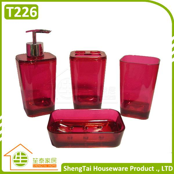 Irregular Shape Popular Transparent 4 Pieces Home Decorations Bathroom Set