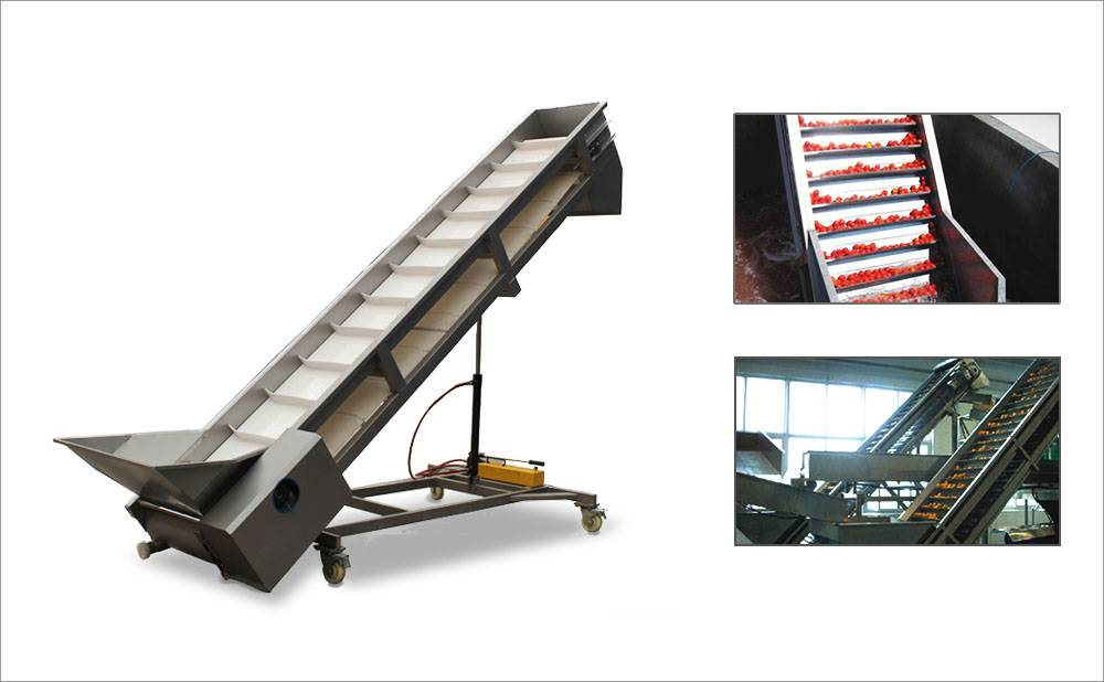 Inclined Scraper Belt Conveyor For Grape Elevating