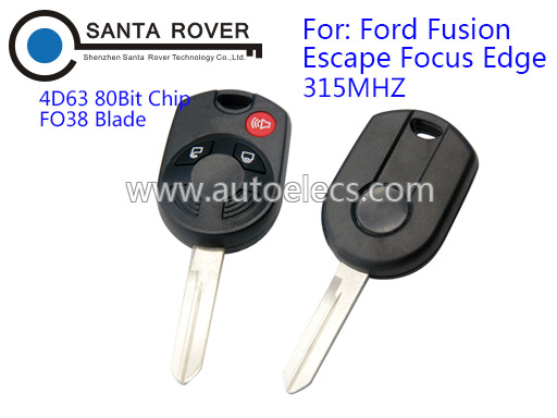 Key Blank For Ford Fusion Escape Focus Edge Keys Remote Control 3 Button 315Mhz 4D63 80Bit Chip FO38