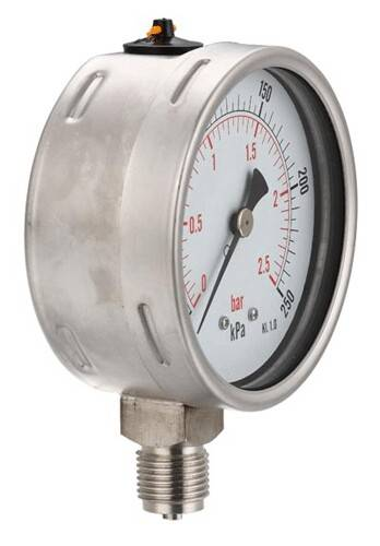 All stainless steel hydraulic pressure gauge