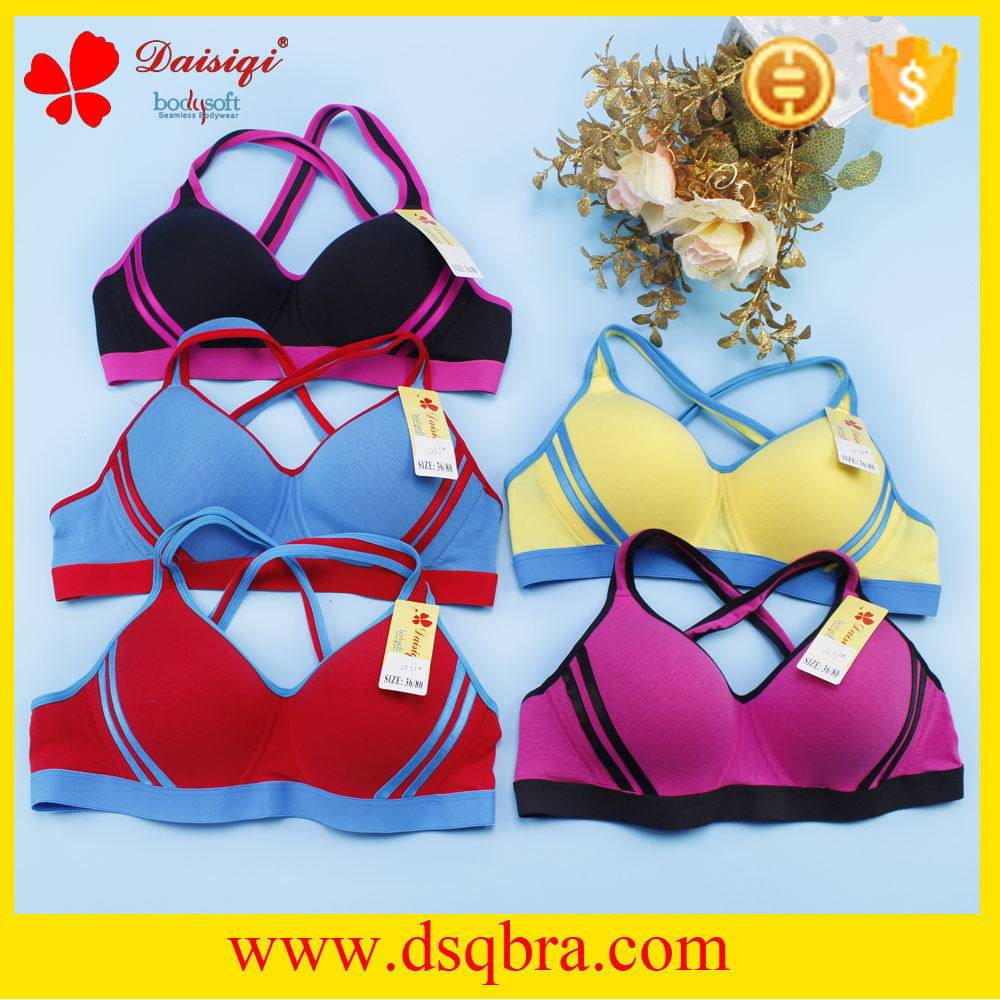 2016 New Arrivals cotton beautiful back design plain color sports bra