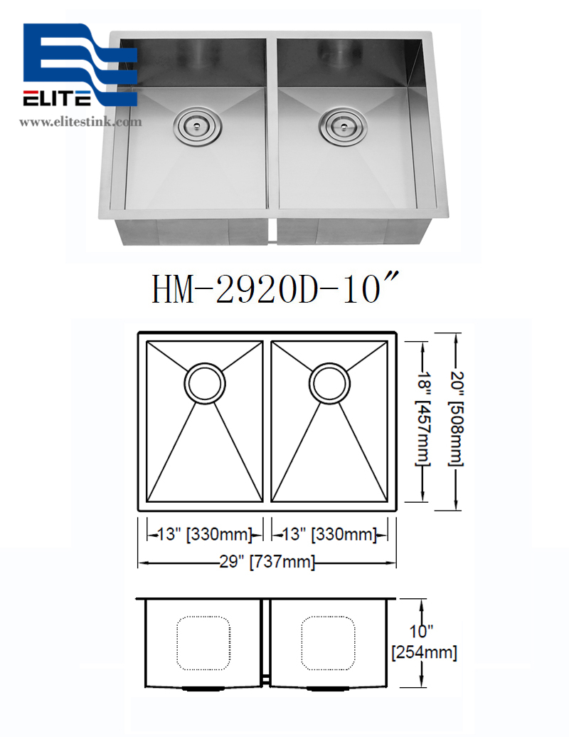 Stainless Steel Undermount Sink sizes 29 x 20 double bowl double drainer