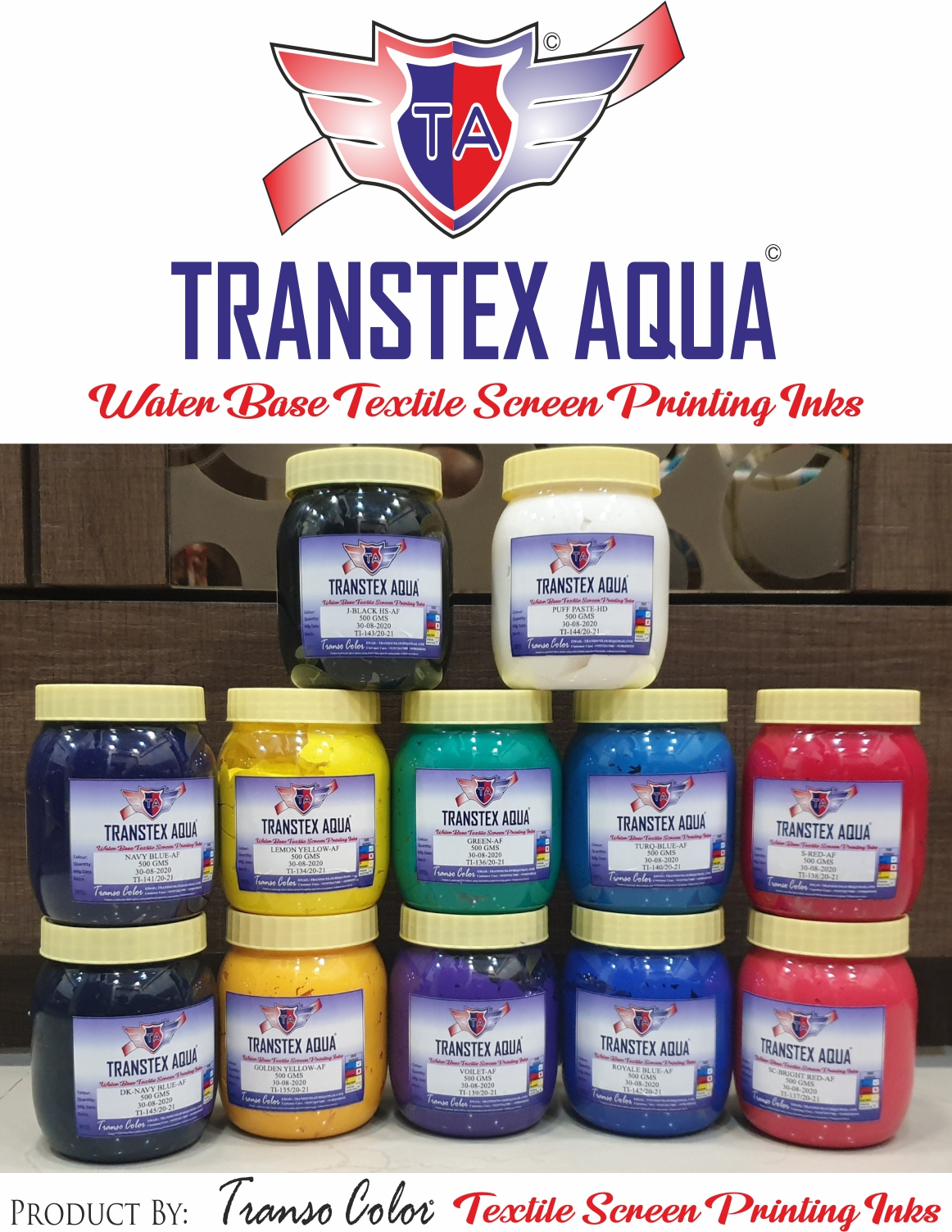HIGH QUALITY WATER BASED SCREEN PRINTING INKS