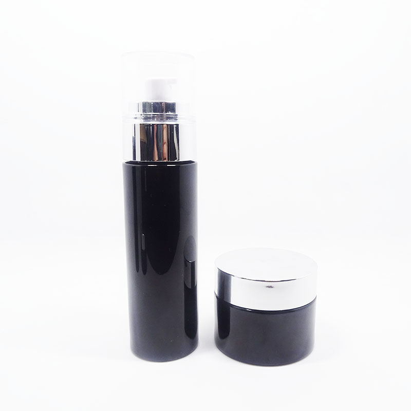 cosmetic oil bottle with pump cap Logo printing color painting box customized