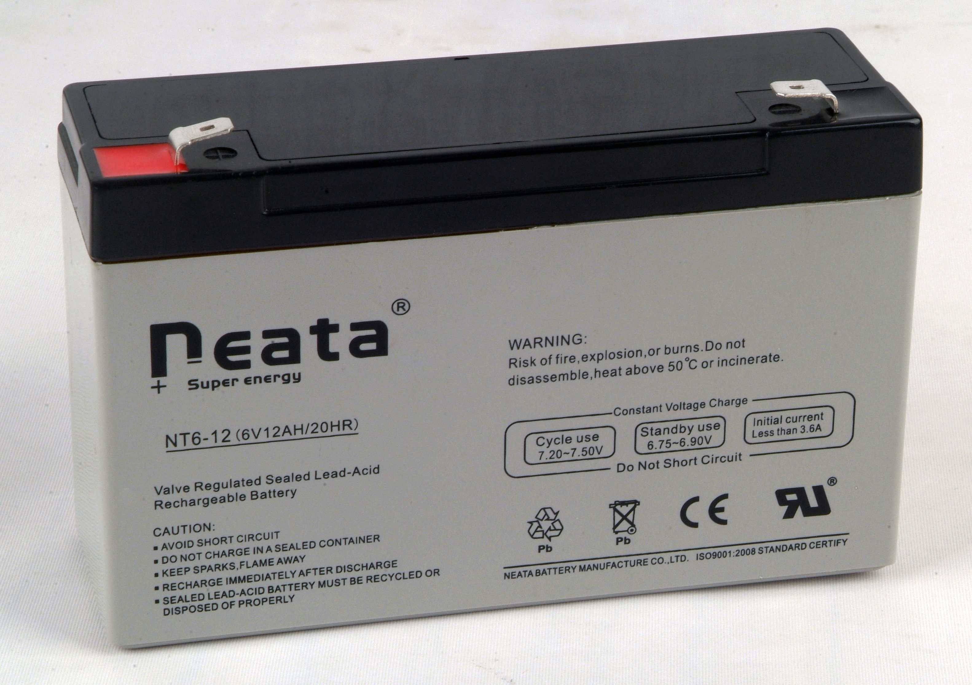Toy Car Lead Acid Battery 6v 12ah Iso Ce Ul Rohs Neata