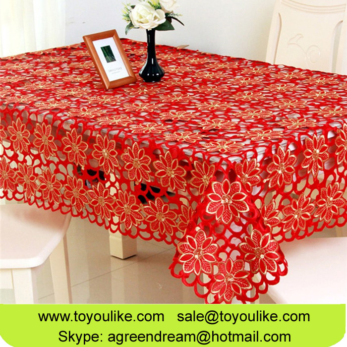 Toyoulike Joyous Chinese Red Polyester Embroidery Table Cloths Table Linens for Rectangle Tables
