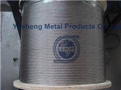 Stainless steel wire rope and cable 1 x 19