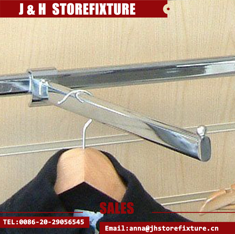 Polished chrome plate hook-on straight arm for rear hanging rail
