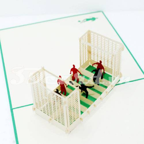 Football Match-Kirigami-Origamic-Laser cut-Paper cutting-3D-Handmade-Pop up card