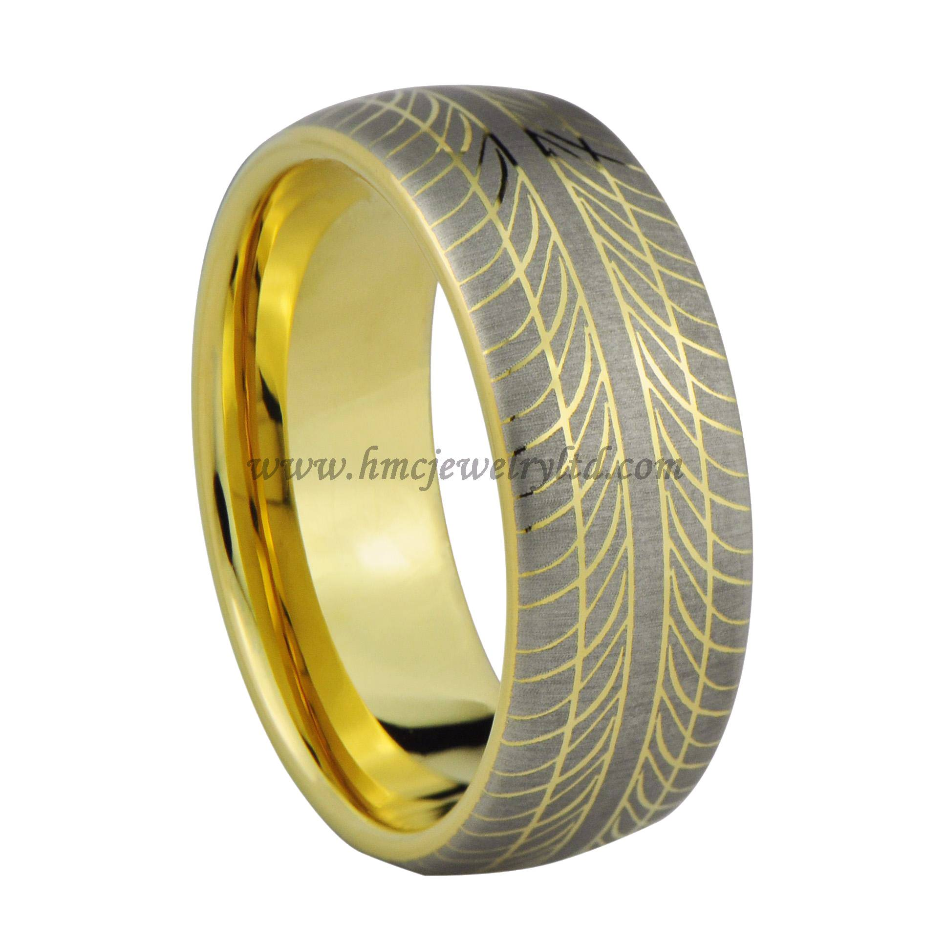 Tyre Tread Pattern Tungsten Carbide Ring, Gold Plated Tungsten Carbide Mens Ring