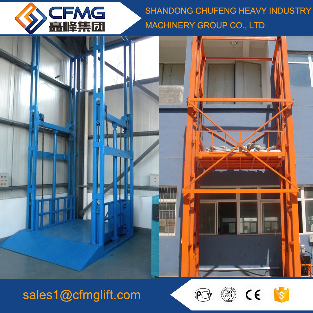 Electric hydraulic guide rail lift warehouse cargo lift goods lift
