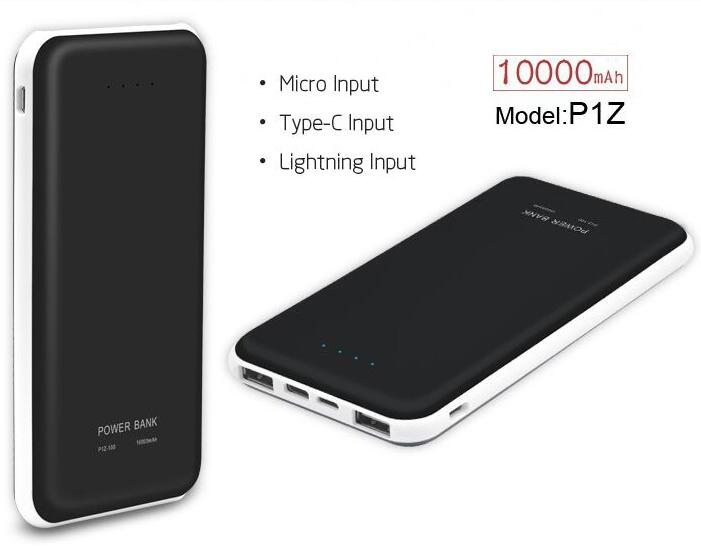 10000mah Li polymer external battery rohs power bank with 3 inputs