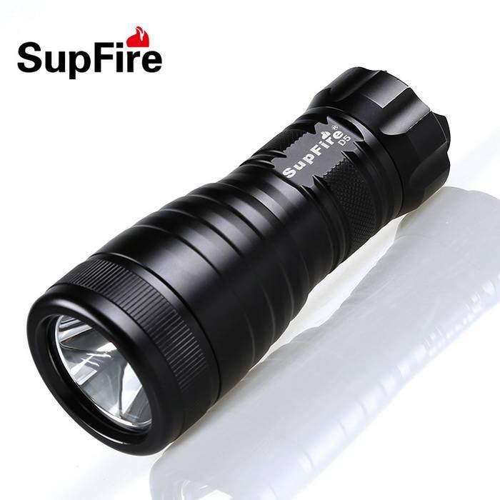 SupFire D5 single LED flashlight professional diving waterproof IP68 torch