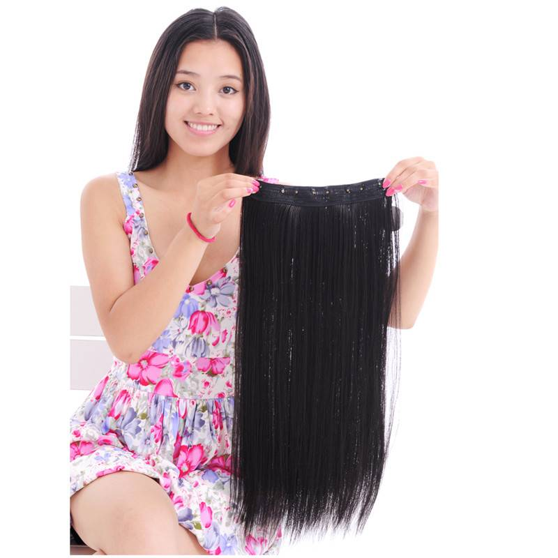 Synthetic black straight 5 clips hair extension