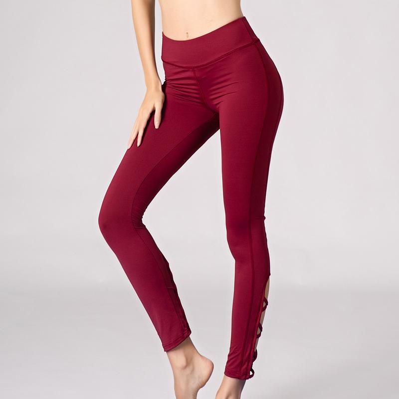 red color hollow out pants workout wear dri fit super soft leggings