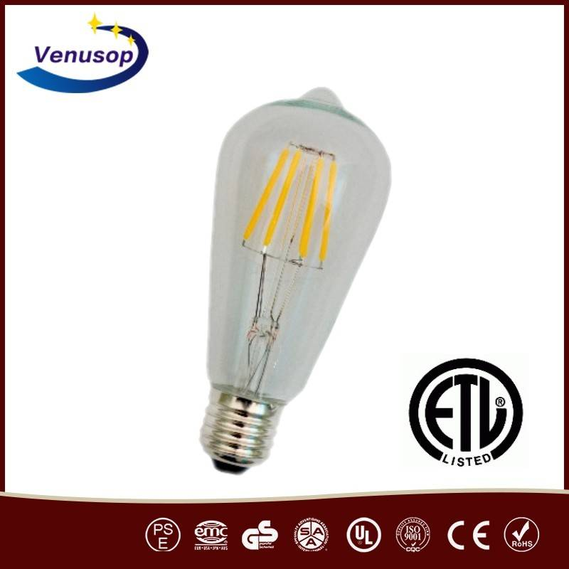 ST64 6W LED Vintage Edison filament bulb, Dimmable LED filament bulbs manufacturer