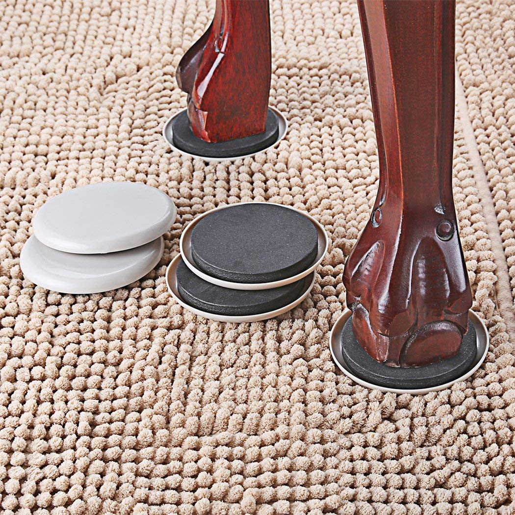 "1/2"" Round Furniture Sliders For Carpet 3.5 Inch Diameter Furniture Movers Easy For Moving Furniture"