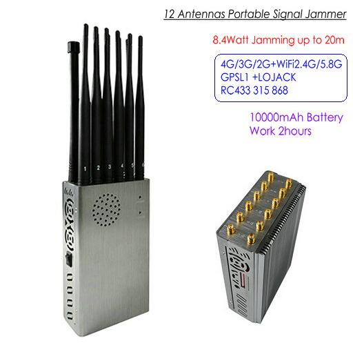 121A-12A 12 Antennas Portable Signal Jammer,Total 8.4Watt, Distance Up to 20m, Battery Time 2hours