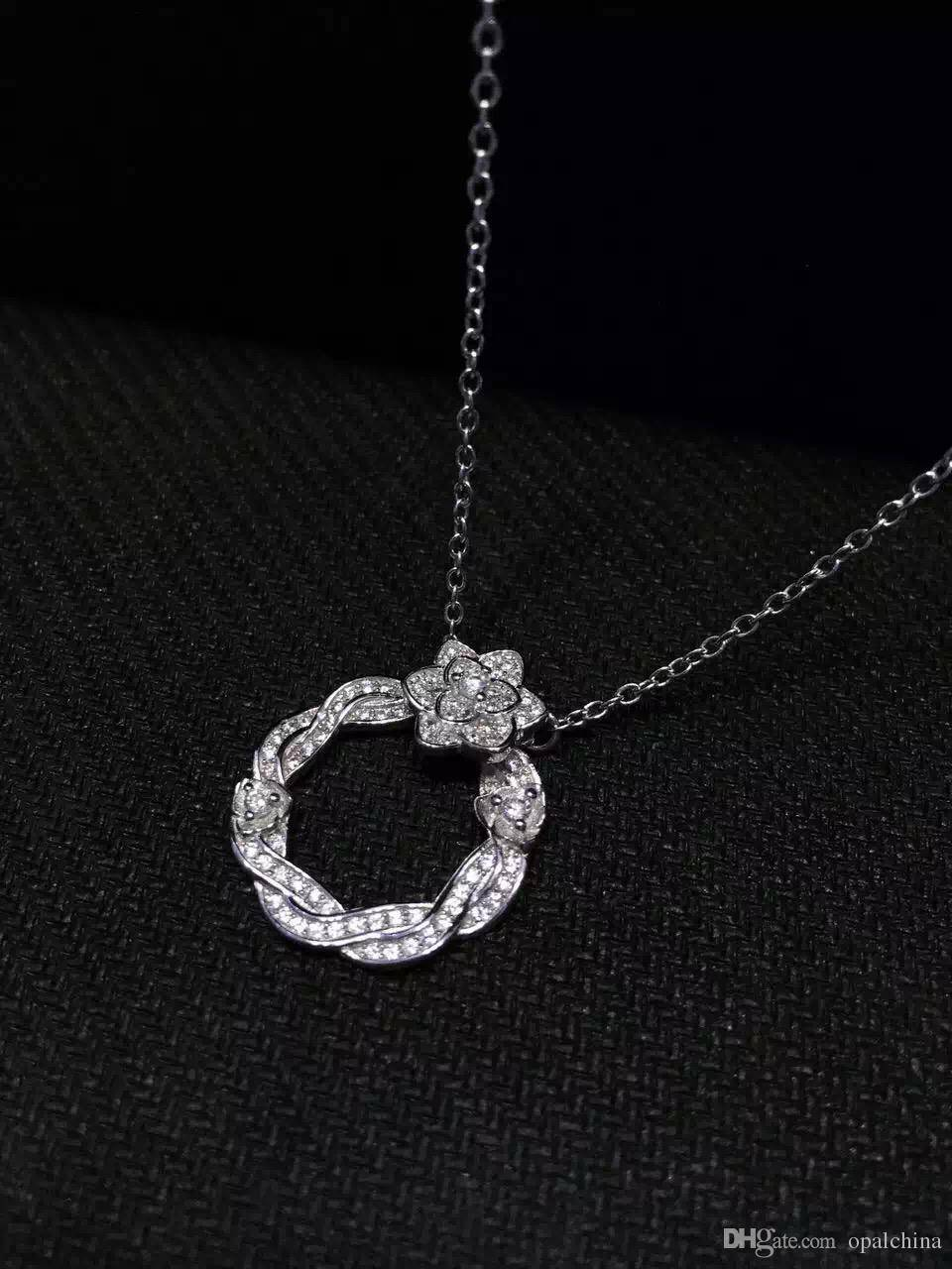 NEFFLY Nice Rose flower 925 Sterling Sliver necklace Women Girls For Party&Gift Fashion Jewelry 1PC