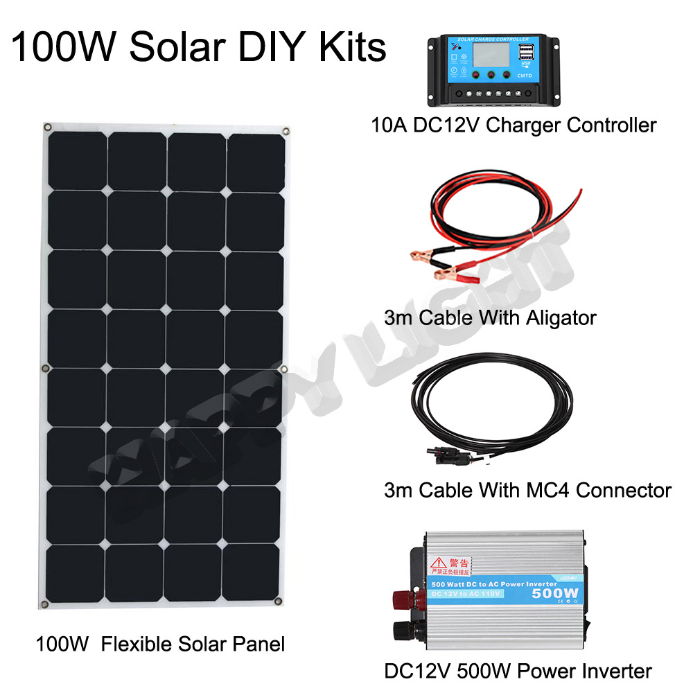 100W DIY SOLAR ENERGY SYSTEM FOR HOME USE