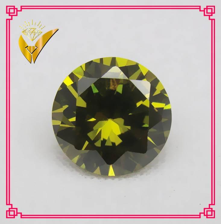 man make olive round shaped synthetic gemstone