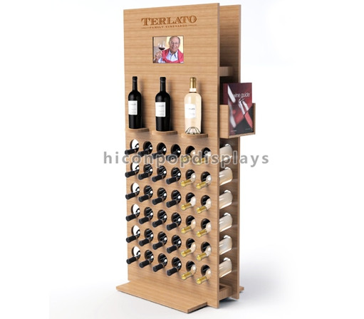 Custom Floor Wooden 39 Bottles Wine Racks Commercial Display Stand