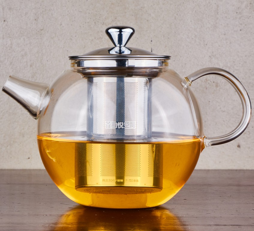 high borosilicate glass teapot with metal strainer 700ml