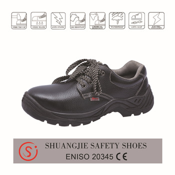 safety work shoes 9084 embossed leather pu outsole