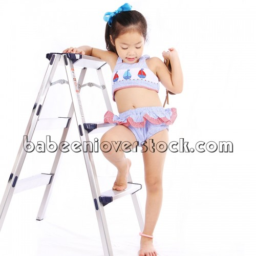 Sailboat hand smocked girl swimwear