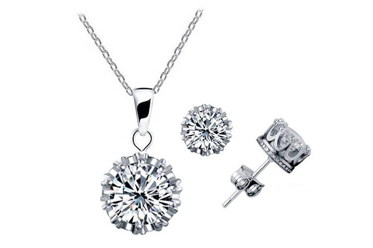 Fashion Women Silver Zircon Necklace Earring Jewelry Set