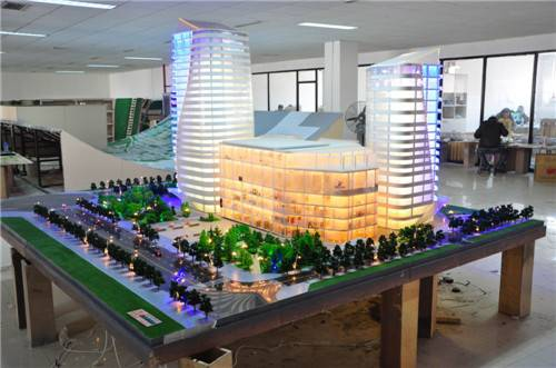3d scale model with led light , architecture building model