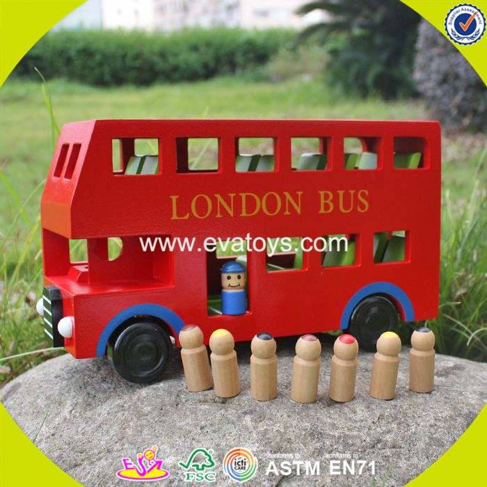 2017 New products children funny wooden toy double decker bus W04A161