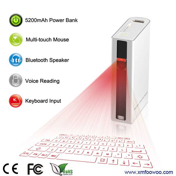 NEW portable laser keyboard with power bank QWERTY layout