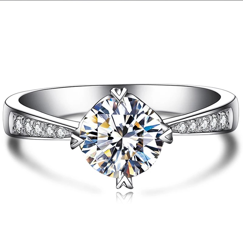 18k Gold Moissanite Certified Diamond Ring Test Positive Classic 6 Claws Crown Design D/F Color VVS