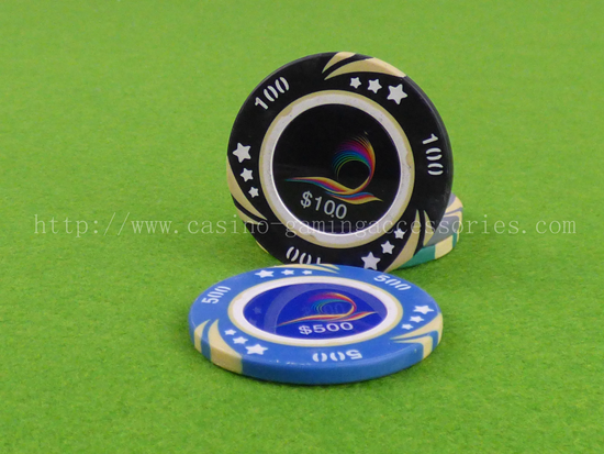 Clay Poker Chips Las Vegas Gambling , Custom Design 1000 Denomination Sticker Chips