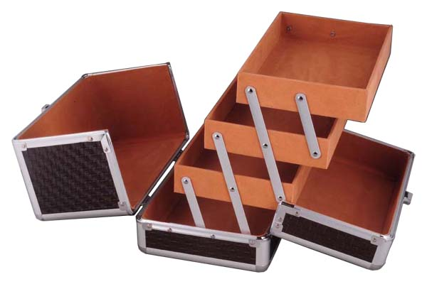 Beauty Train Case with Three Extendable Trays