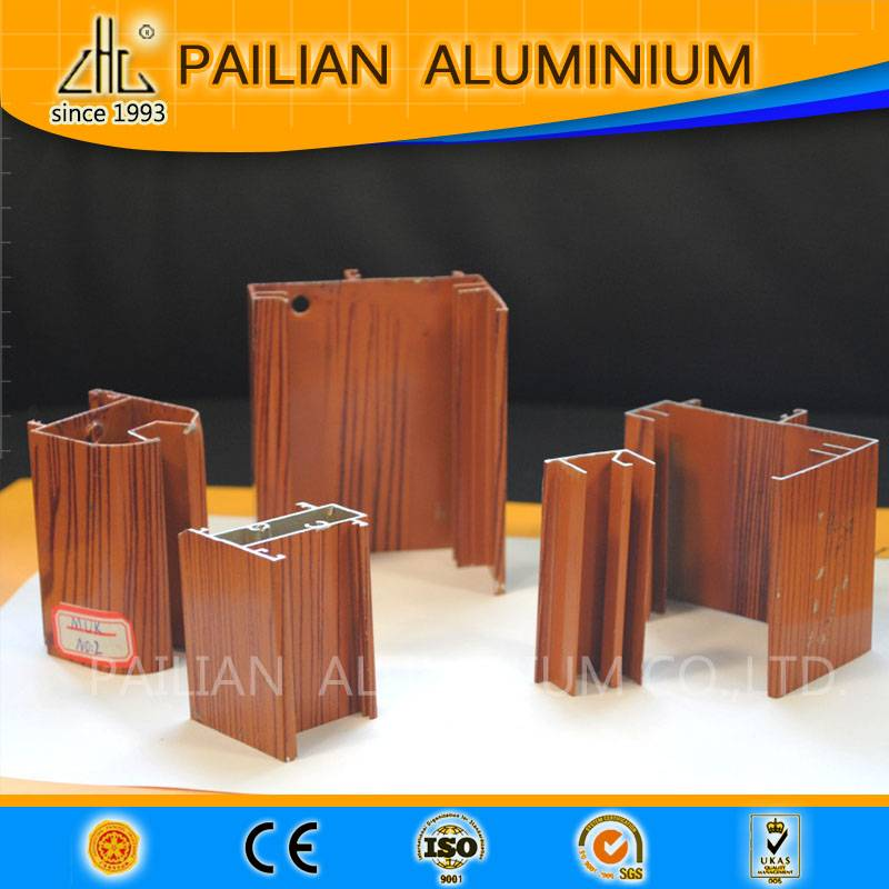 Wood grain finish  aluminium profiles for tube and pips , aluminium windows and doors decoration