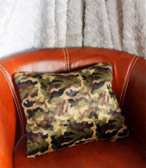 Camouflage design faux fur pillow