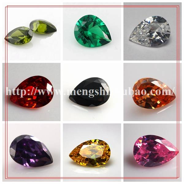shiny mystic cubic zirconia pear shaped synthetic beads cz