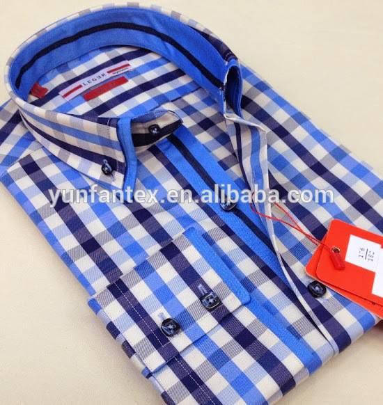 2016 latest Italian fashion 100%cotton cvc55/45 yarn dyed shaoxing check double collar men shirts